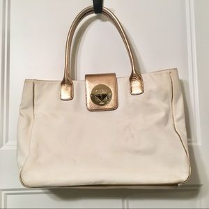 Kate Spade Canvas and Gold Leather Tote